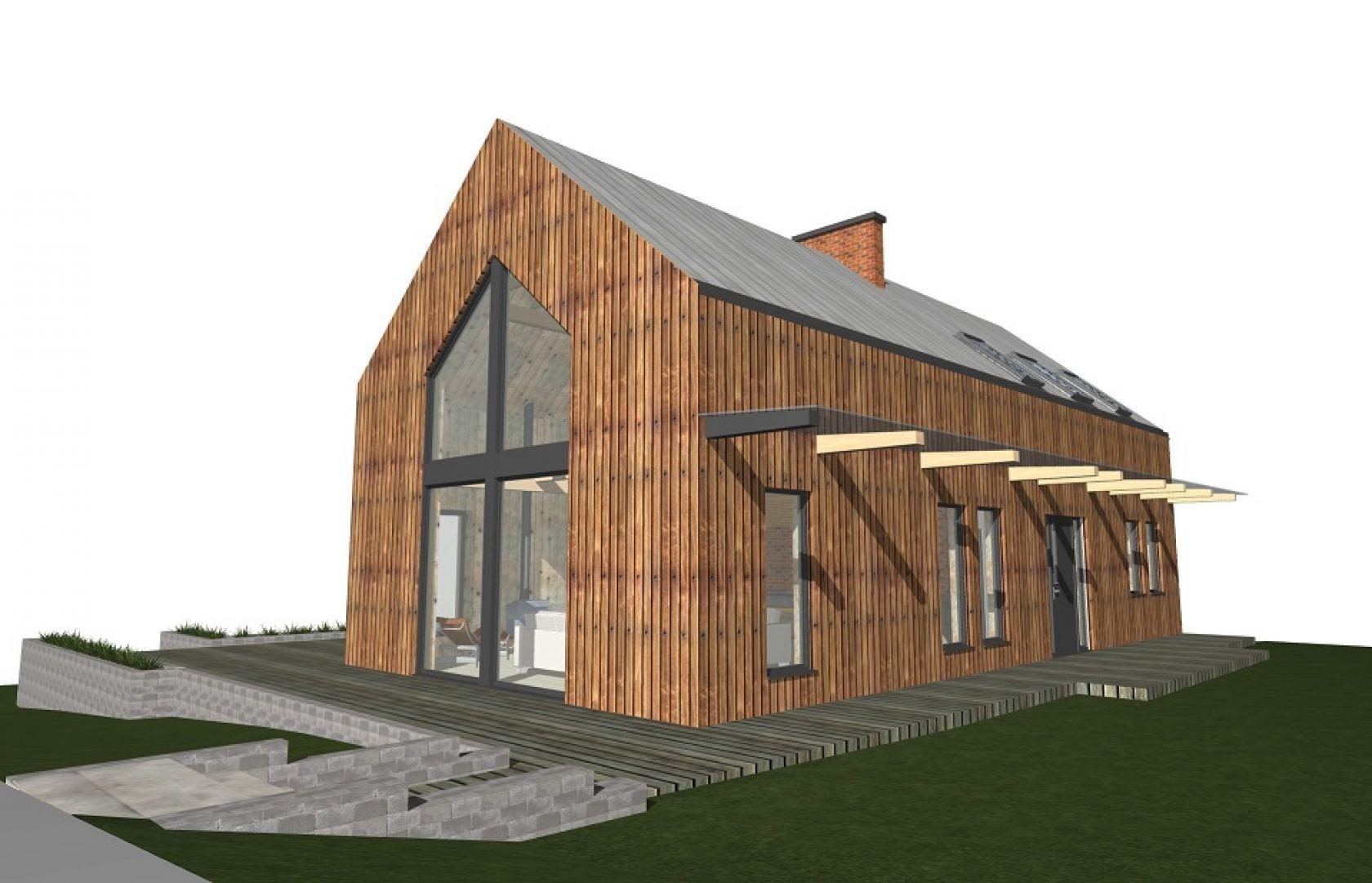 Zlecę budowę niedużego domu w konstrukcji szkieletowej drewnianej, z częściowym podpiwniczeniem