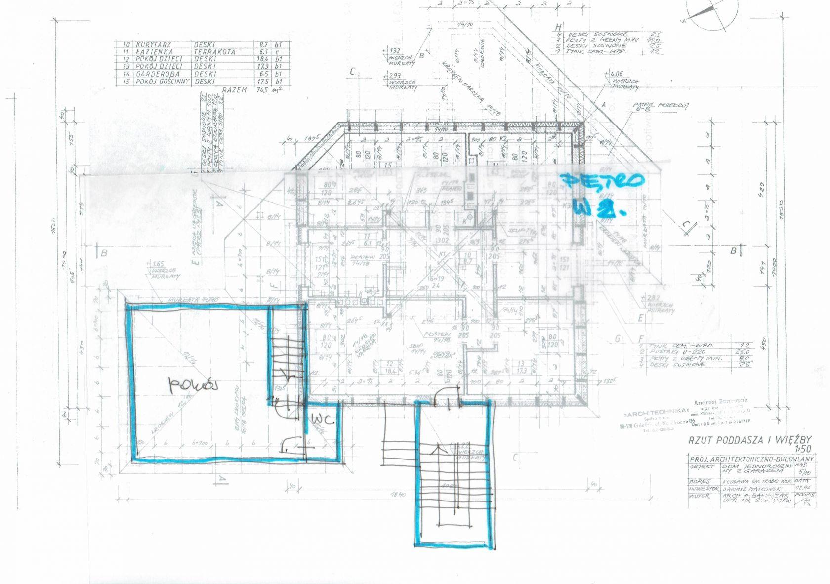 Budowa klatki schodowej oraz nadbudowa sypalni na garażu